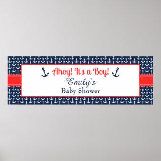 Pôster Bandeira náutica do chá de fraldas - menino