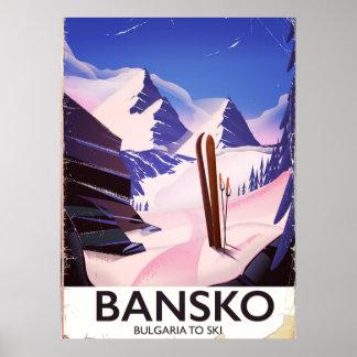 Poster Bansko Bulgária a esquiar