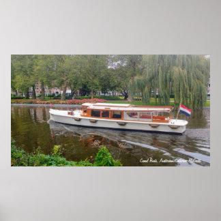 Pôster Barco de canal, Amsterdão, Países Baixos