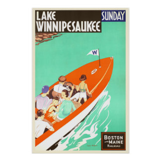 Poster Barco de Winnipesaukee domingo do lago