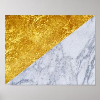 Poster básico de mármore branco 2 da folha de ouro