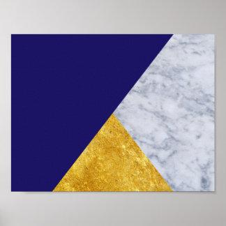 Poster básico do ouro do azul de índigo e o de