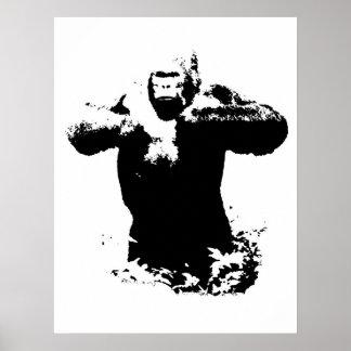 Poster batendo da caixa do gorila do pop art pôster
