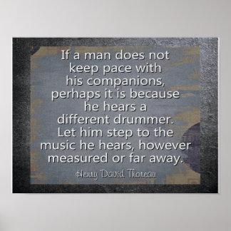 Pôster Baterista diferente --- Citações de Thoreau -