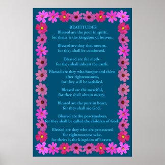 Poster Beatitudes em um quadro cor-de-rosa do cosmos