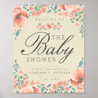 Poster Bebê floral do livro de histórias do vintage do