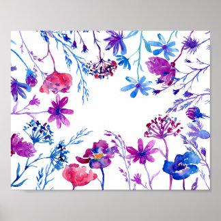 Pôster Beira roxa da flor da aguarela