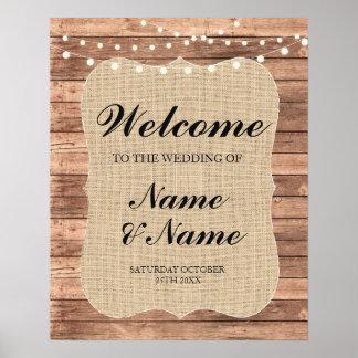 Poster bem-vindo da madeira do casamento do sinal