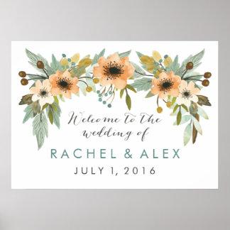Poster bem-vindo de florescência da aguarela pôster