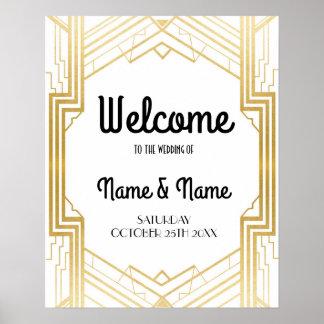 Poster bem-vindo do casamento do ouro do art deco