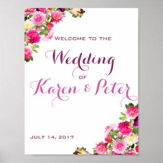 Poster bem-vindo floral bonito do casamento