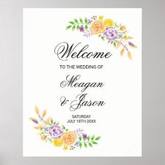 Poster bem-vindo que Wedding a recepção roxa