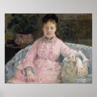 Poster Berthe Morisot - o vestido cor-de-rosa