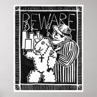 Poster Beware dos capitalistas na roupa do carneiro!