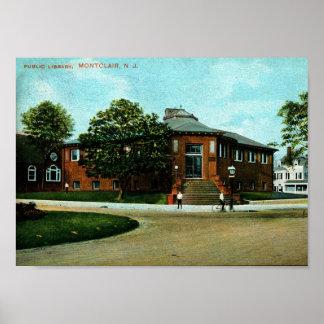 Pôster Biblioteca, Montclair, vintage 1909 de NJ