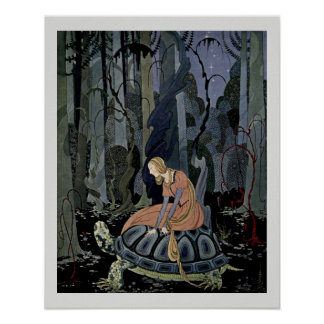 Pôster Blondine e a ilustração do conto de fadas da