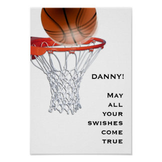 Poster boa sorte do basquetebol