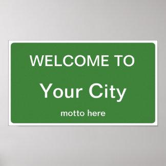 Pôster Boa vinda ao modelo do sinal da cidade/estado