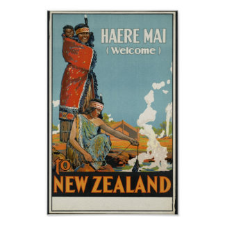 Poster Boa vinda do MAI de Haere à arte retro do viagem