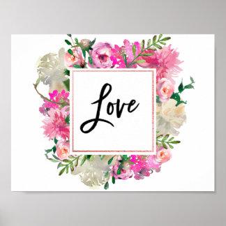 Poster boémio na moda do amor da aguarela pôster