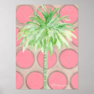 Pôster Bolinhas cor-de-rosa bonito do cartaz da palmeira