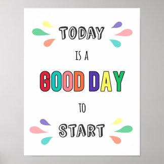 Pôster Bom dia das citações inspiradores da tipografia a