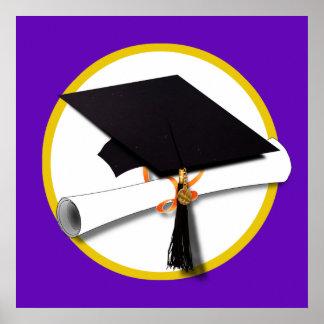 Poster Boné de formatura w/Diploma - Fundo roxo
