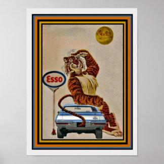 Poster bonito 12 x 16 do anúncio do tigre do gás
