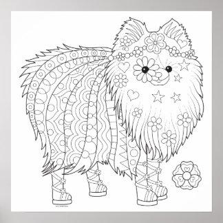 Poster bonito da coloração de Pomeranian - poster