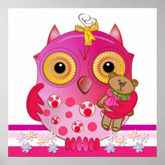Poster bonito da coruja do bebê dos desenhos anima