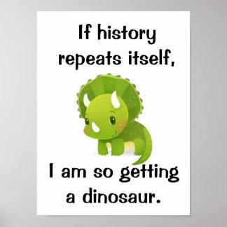 Poster bonito da história do dinossauro