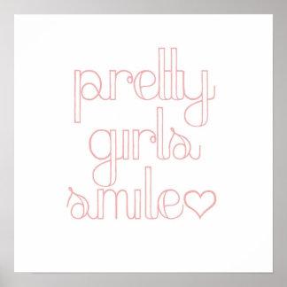 Poster bonito da indicação do sorriso das meninas pôster