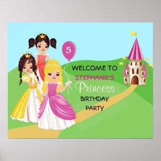 Poster bonito da princesa festa de aniversario de