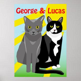Poster bonito dos gatos dos desenhos animados de