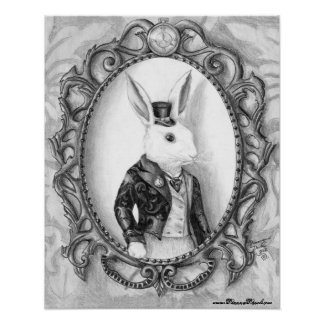 Poster branco Alice do coelho no poster do país