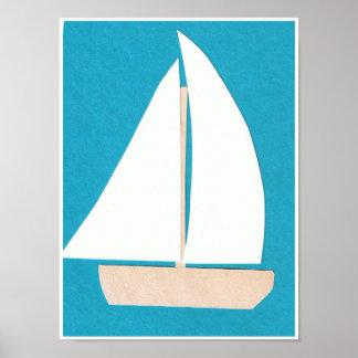 Poster branco do veleiro