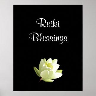 Poster Branco Lilly das bênçãos de Reiki