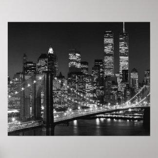 Poster branco preto da noite de New York da ponte Pôster
