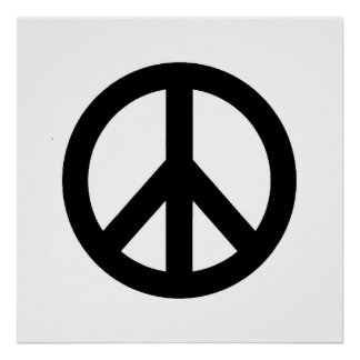 Poster branco preto do símbolo do sinal de paz