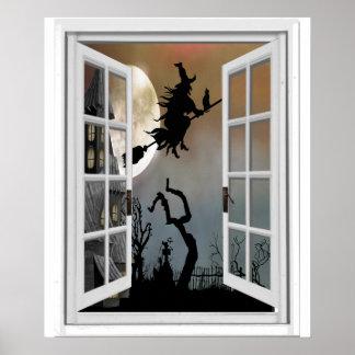 Pôster Bruxa na opinião o Dia das Bruxas da janela do