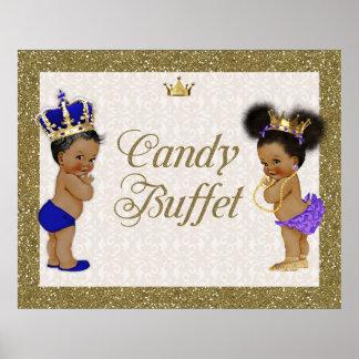 Pôster Bufete dos doces do poster, ouro, brilho