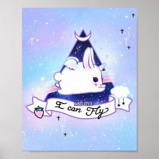 Poster Bunicorn de Kawaii - eu acredito que eu posso voar