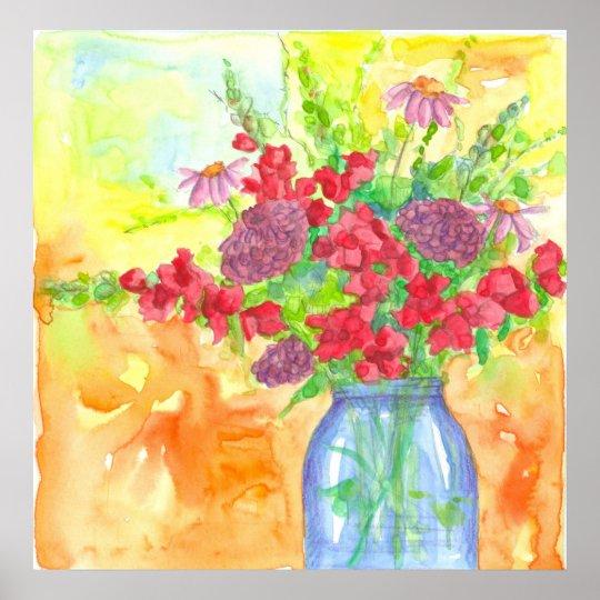 Poster Buquê vermelho da flor da aguarela de Snapdragons