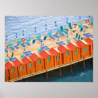 Poster Cabanas da arte elegante da foto de Sorrento