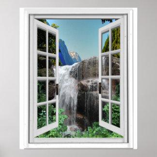 Pôster Cachoeira Trompe - l ' opinião da janela do falso