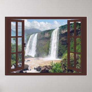 Poster Cachoeiras Trompe - l ' janela do falso do oeil