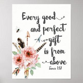 Poster Cada bom e presente perfeito está de cima de