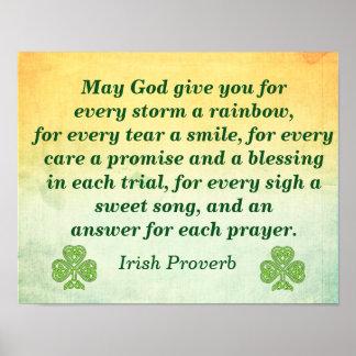 Pôster Cada tempestade -- Citações irlandesas --
