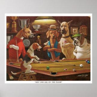 Poster Cães que jogam a piscina - Hey, um pé no assoalho!