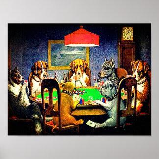 Poster Cães que jogam o póquer